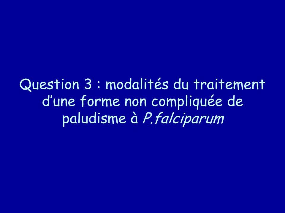 Question 3 : modalités du traitement d'une forme non compliquée de paludisme à P.falciparum