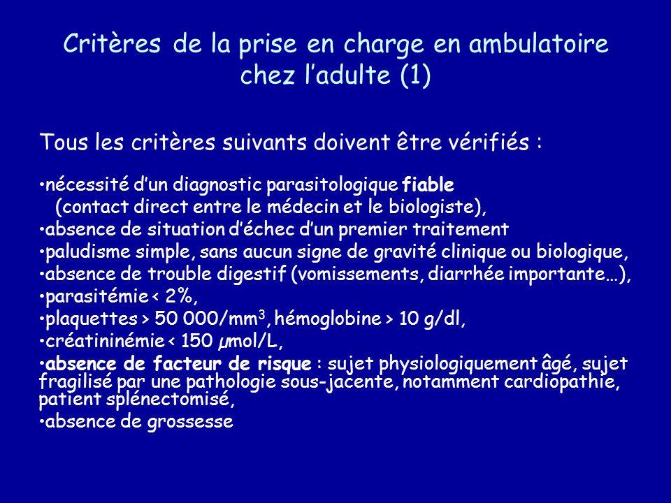 Critères de la prise en charge en ambulatoire chez l'adulte (1)