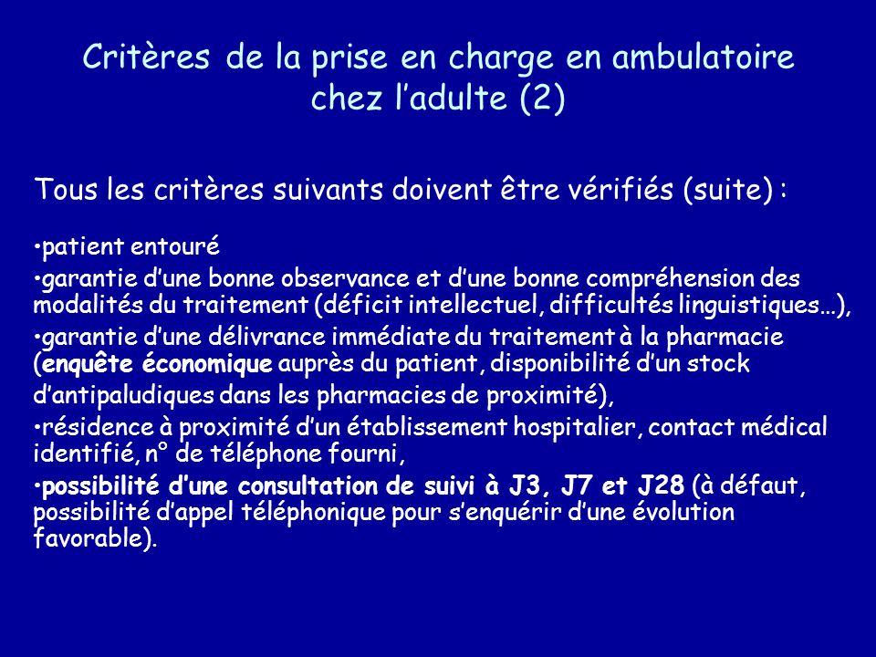 Critères de la prise en charge en ambulatoire chez l'adulte (2)