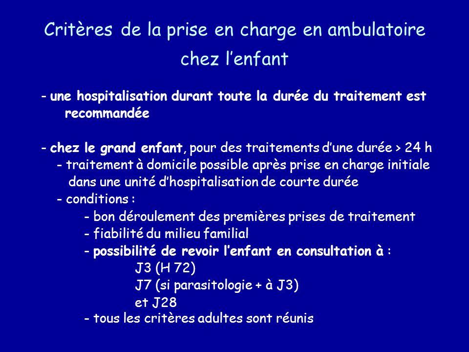 Critères de la prise en charge en ambulatoire chez l'enfant