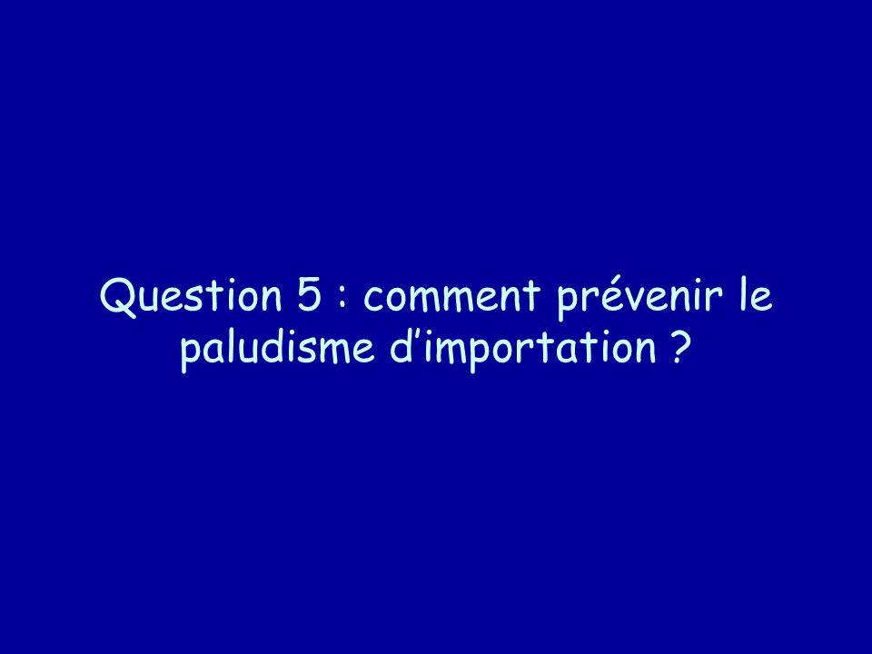 Question 5 : comment prévenir le paludisme d'importation