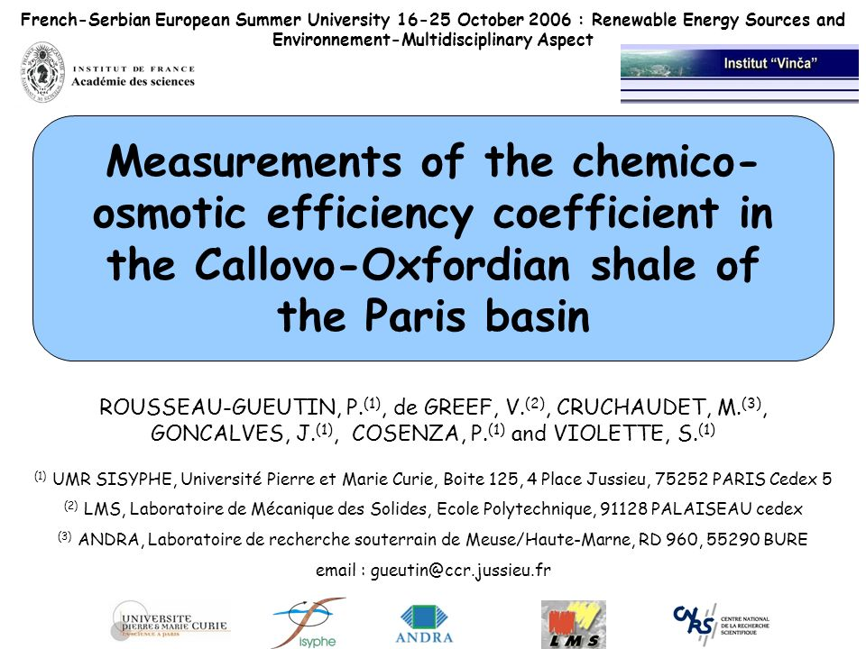 French-Serbian European Summer University 16-25 October 2006 : Renewable Energy Sources and Environnement-Multidisciplinary Aspect