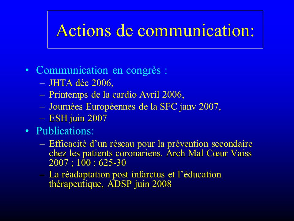 Actions de communication: