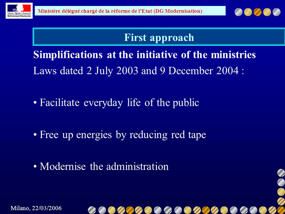First approach Simplifications at the initiative of the ministries. Laws dated 2 July 2003 and 9 December 2004 :