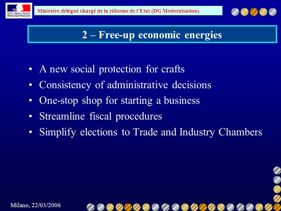 2 – Free-up economic energies