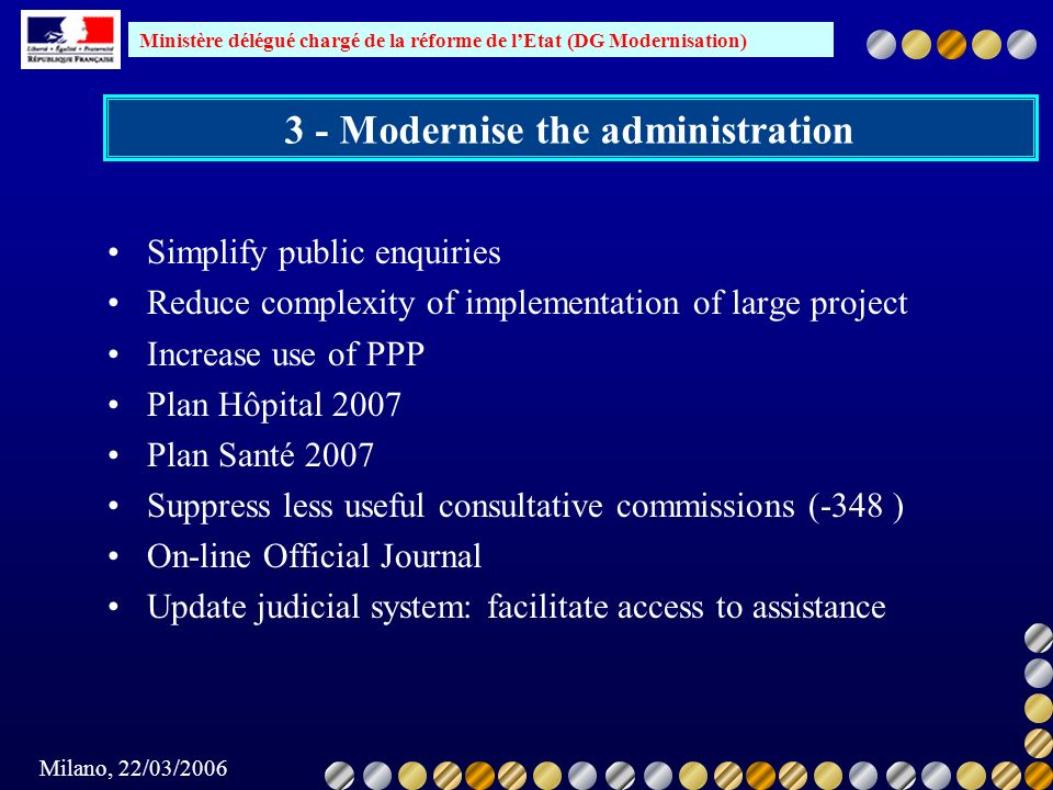 3 - Modernise the administration