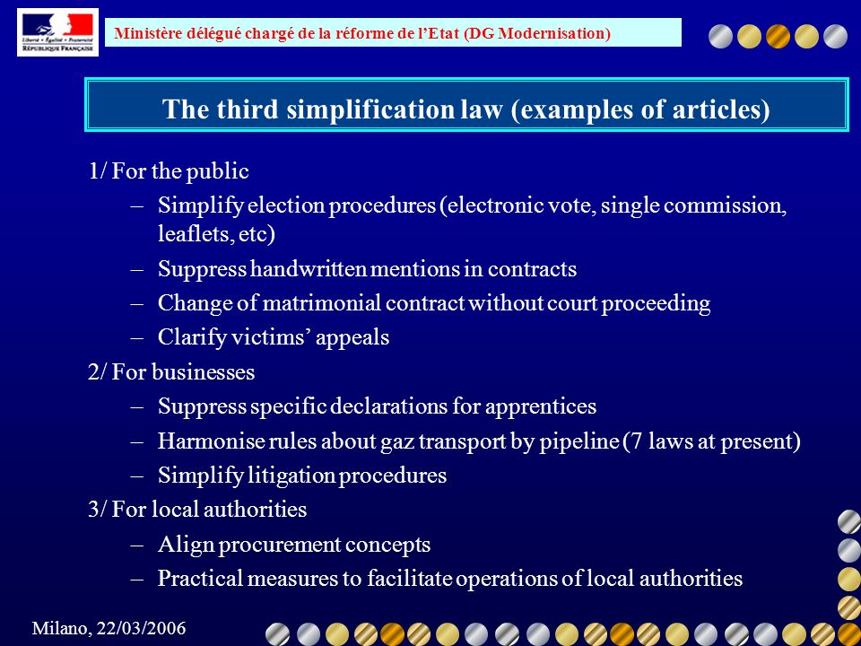 The third simplification law (examples of articles)