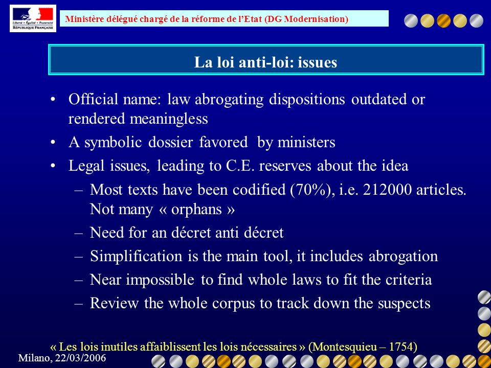 La loi anti-loi: issues
