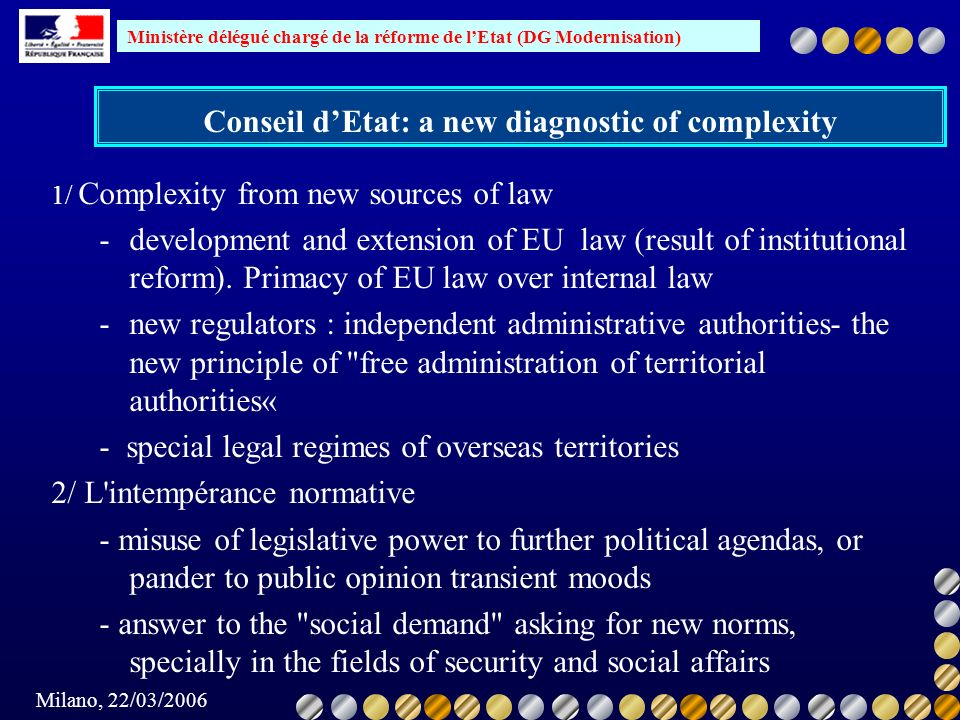 Conseil d'Etat: a new diagnostic of complexity