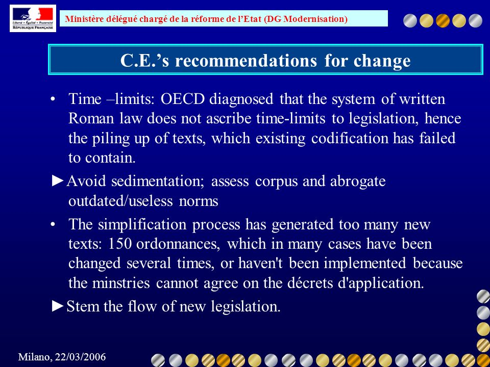 C.E.'s recommendations for change