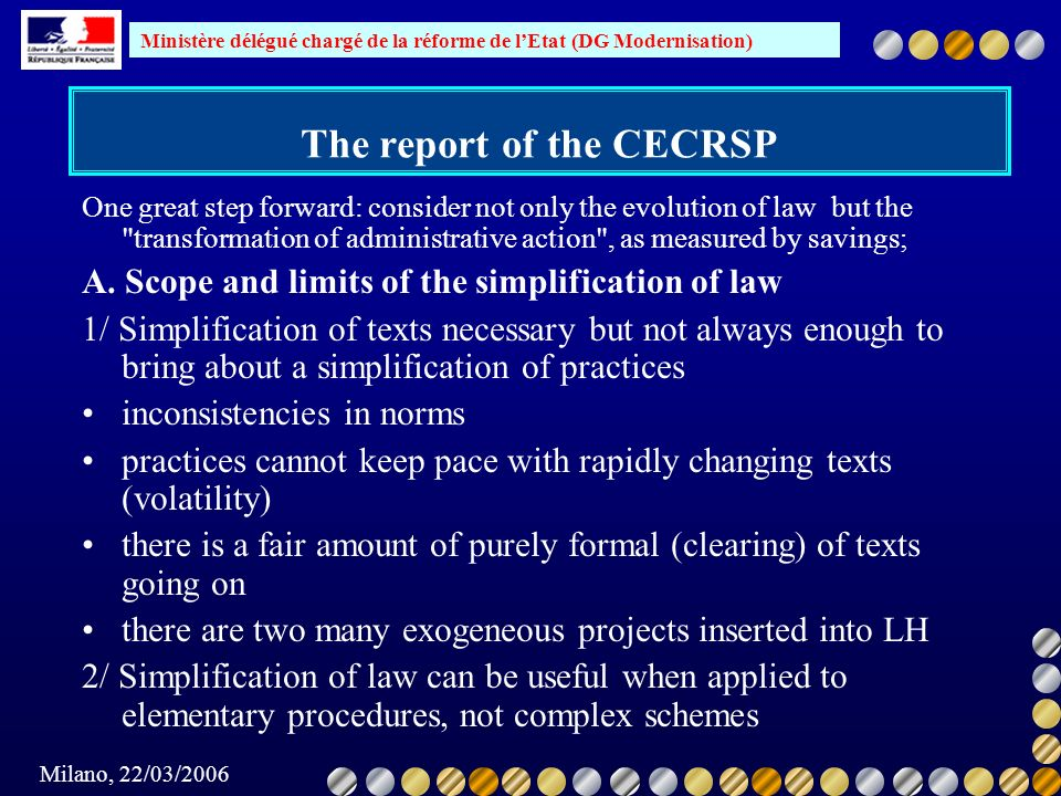 The report of the CECRSP