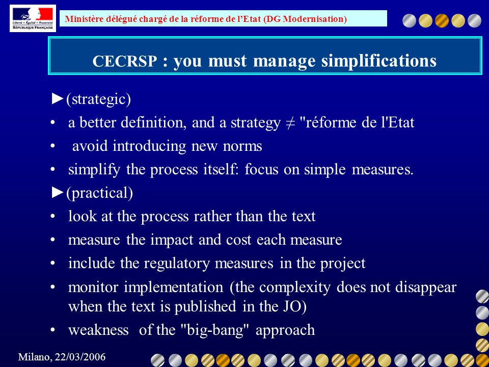 CECRSP : you must manage simplifications