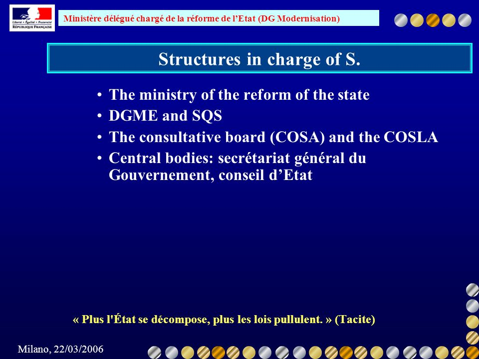 Structures in charge of S.