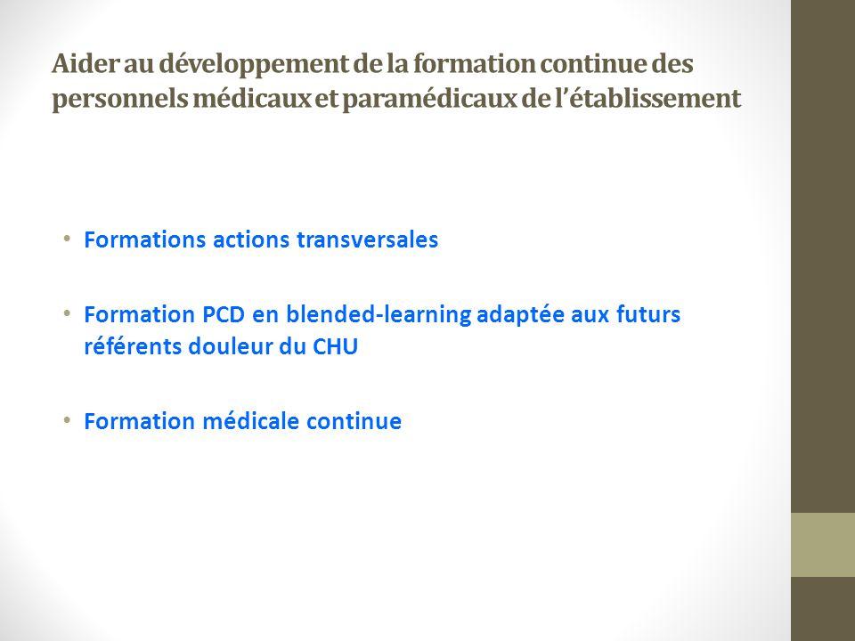 Aider au développement de la formation continue des personnels médicaux et paramédicaux de l'établissement