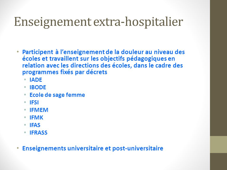 Enseignement extra-hospitalier
