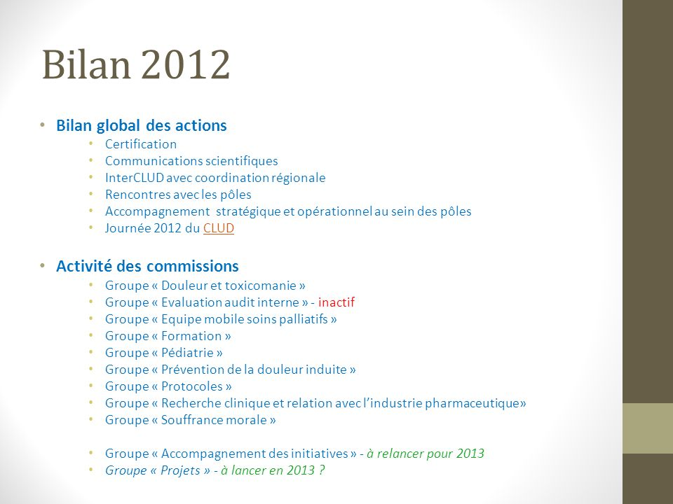 Bilan 2012 Bilan global des actions Activité des commissions