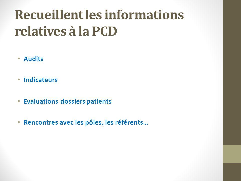 Recueillent les informations relatives à la PCD