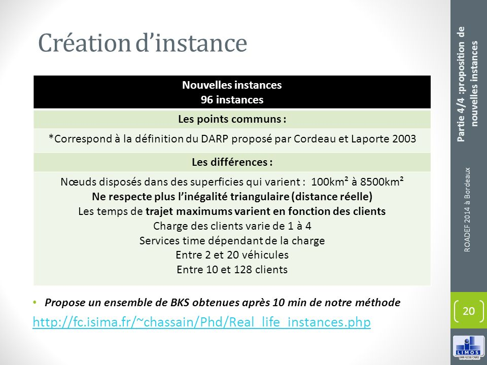 Création d'instance Nouvelles instances. 96 instances. Les points communs :