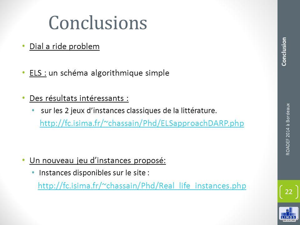 Conclusions Dial a ride problem ELS : un schéma algorithmique simple