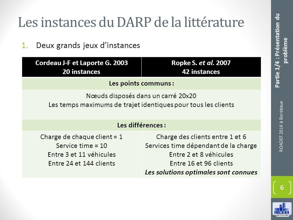 Les instances du DARP de la littérature
