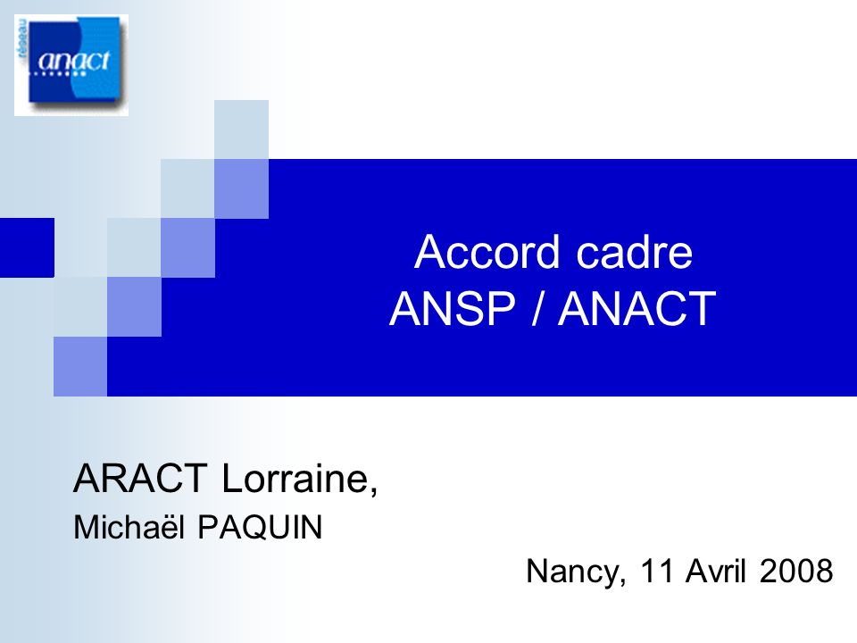 Accord cadre ANSP / ANACT