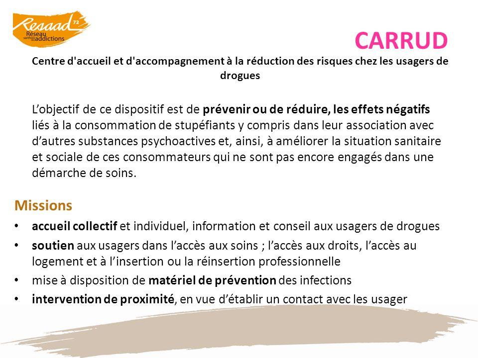 CARRUD Centre d accueil et d accompagnement à la réduction des risques chez les usagers de drogues.