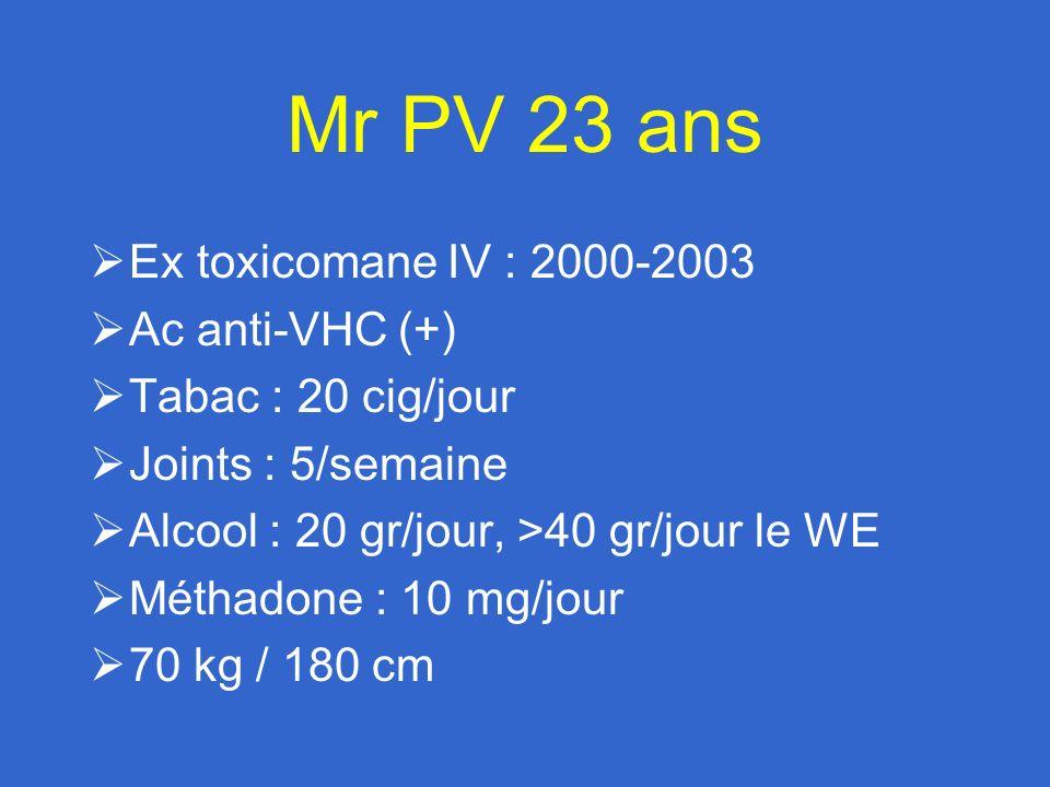 Mr PV 23 ans Ex toxicomane IV : 2000-2003 Ac anti-VHC (+)