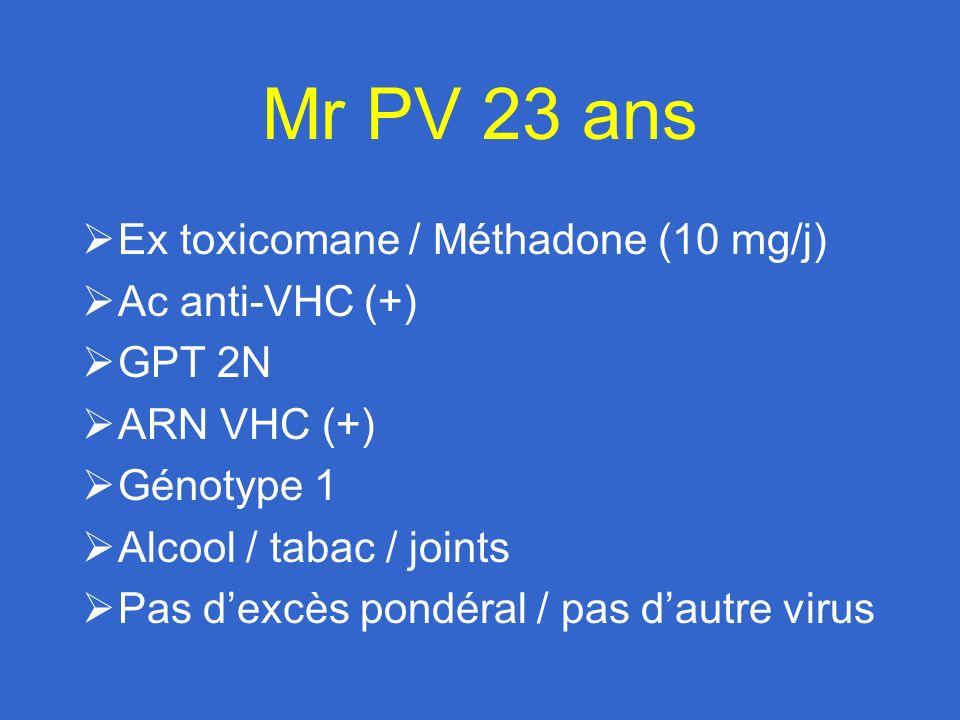 Mr PV 23 ans Ex toxicomane / Méthadone (10 mg/j) Ac anti-VHC (+)