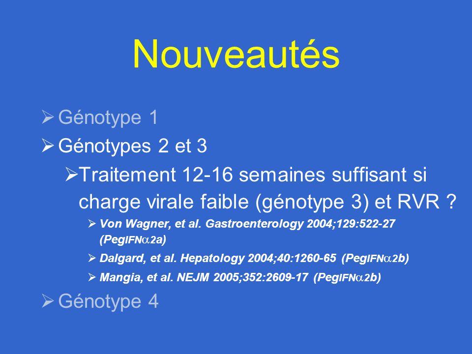 Nouveautés Génotype 1. Génotypes 2 et 3. Traitement 12-16 semaines suffisant si charge virale faible (génotype 3) et RVR