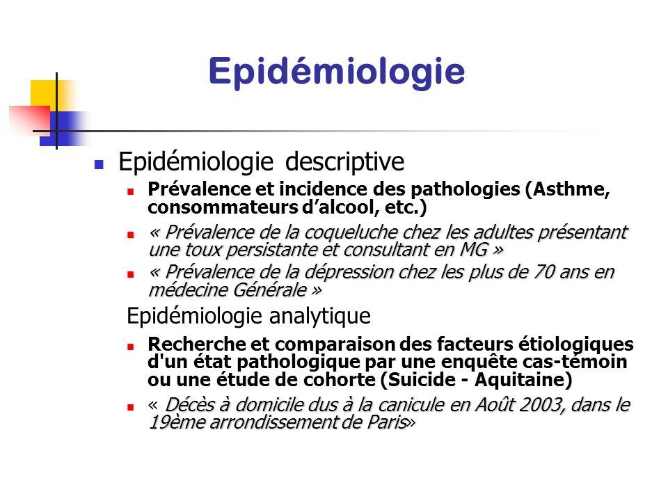 Epidémiologie Epidémiologie descriptive Epidémiologie analytique