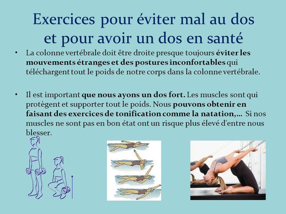 Exercices pour éviter mal au dos et pour avoir un dos en santé