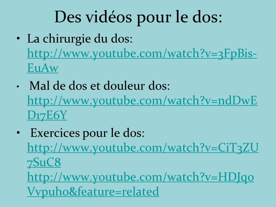 Des vidéos pour le dos: La chirurgie du dos: http://www.youtube.com/watch v=3FpBis-EuAw.