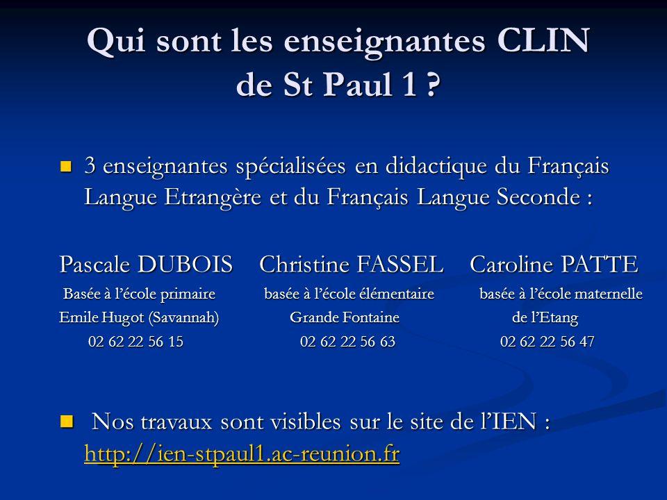 Qui sont les enseignantes CLIN de St Paul 1