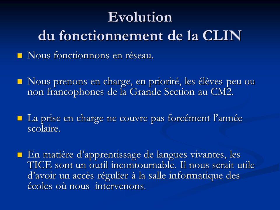 Evolution du fonctionnement de la CLIN
