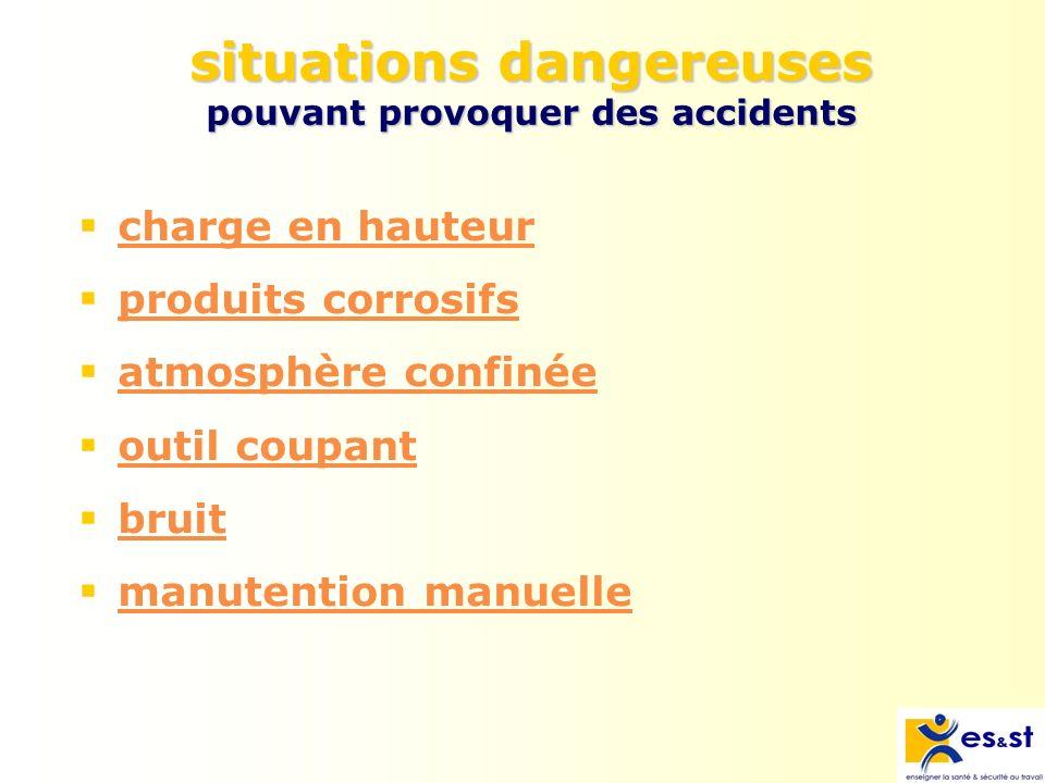 situations dangereuses pouvant provoquer des accidents