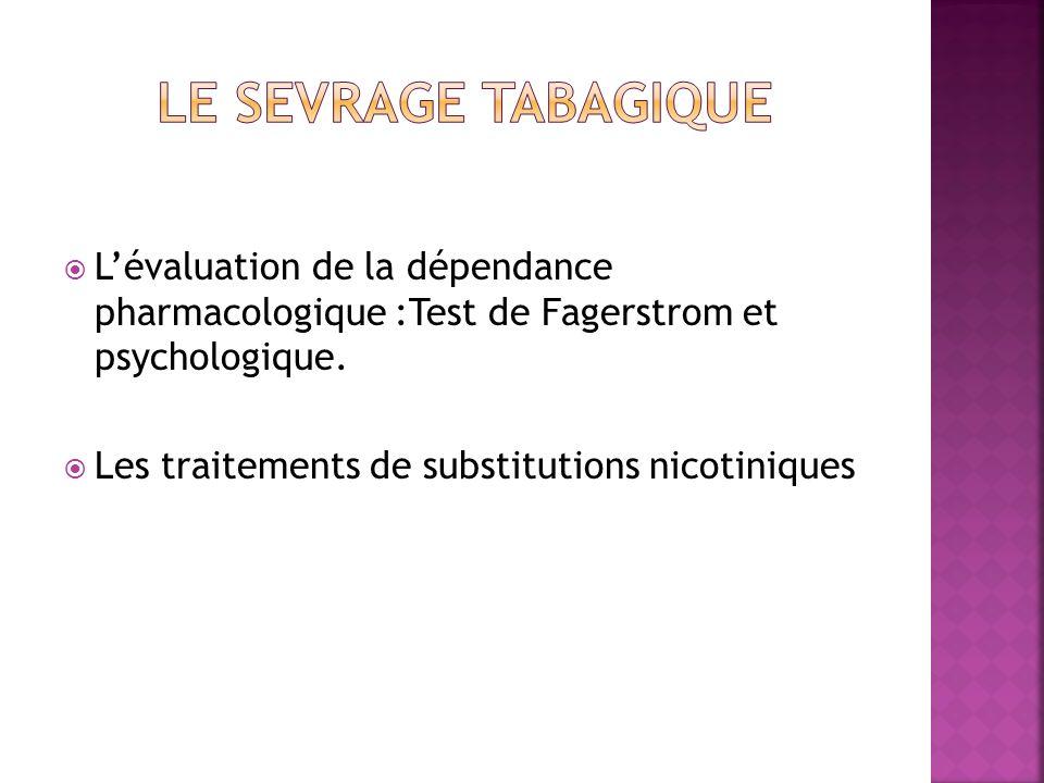 Le sevrage tabagique L'évaluation de la dépendance pharmacologique :Test de Fagerstrom et psychologique.