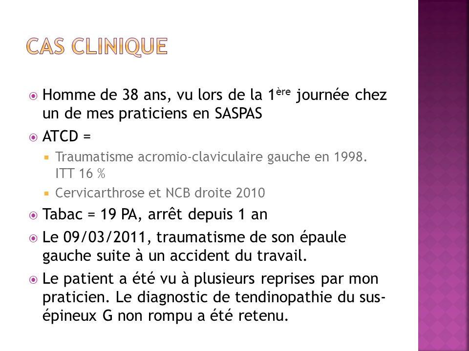 Cas Clinique Homme de 38 ans, vu lors de la 1ère journée chez un de mes praticiens en SASPAS. ATCD =