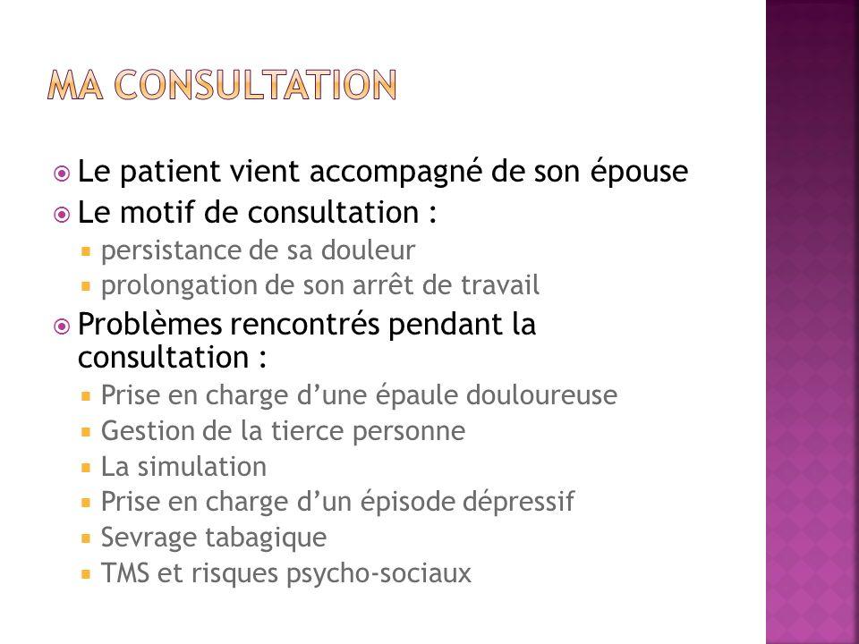 Ma consultation Le patient vient accompagné de son épouse