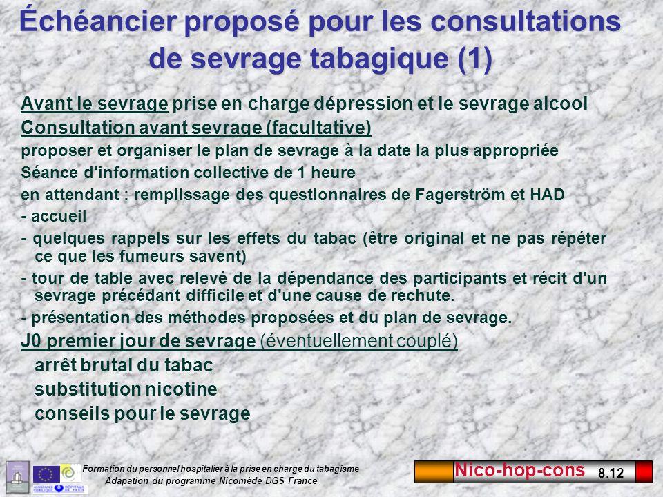 Échéancier proposé pour les consultations de sevrage tabagique (1)