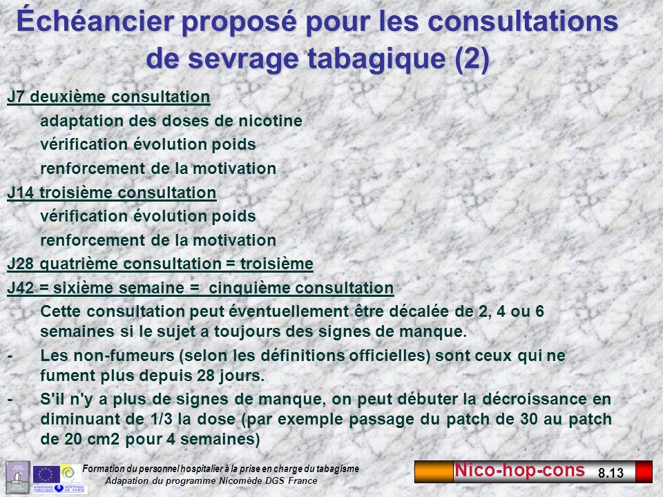 Échéancier proposé pour les consultations de sevrage tabagique (2)