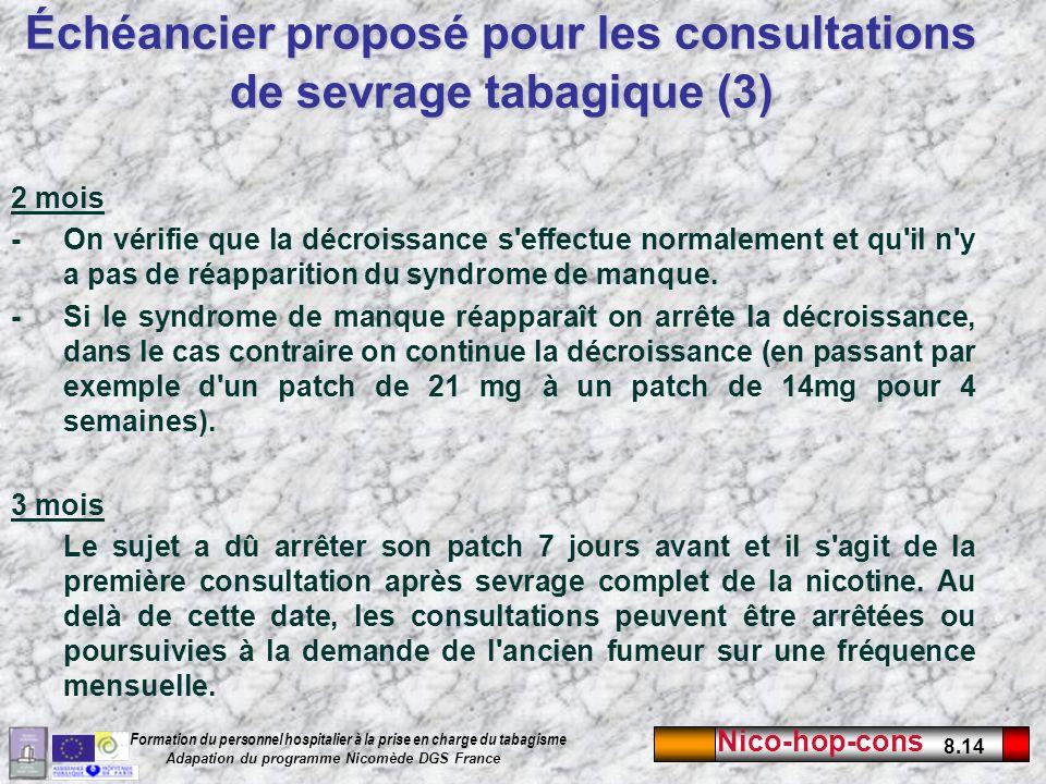 Échéancier proposé pour les consultations de sevrage tabagique (3)