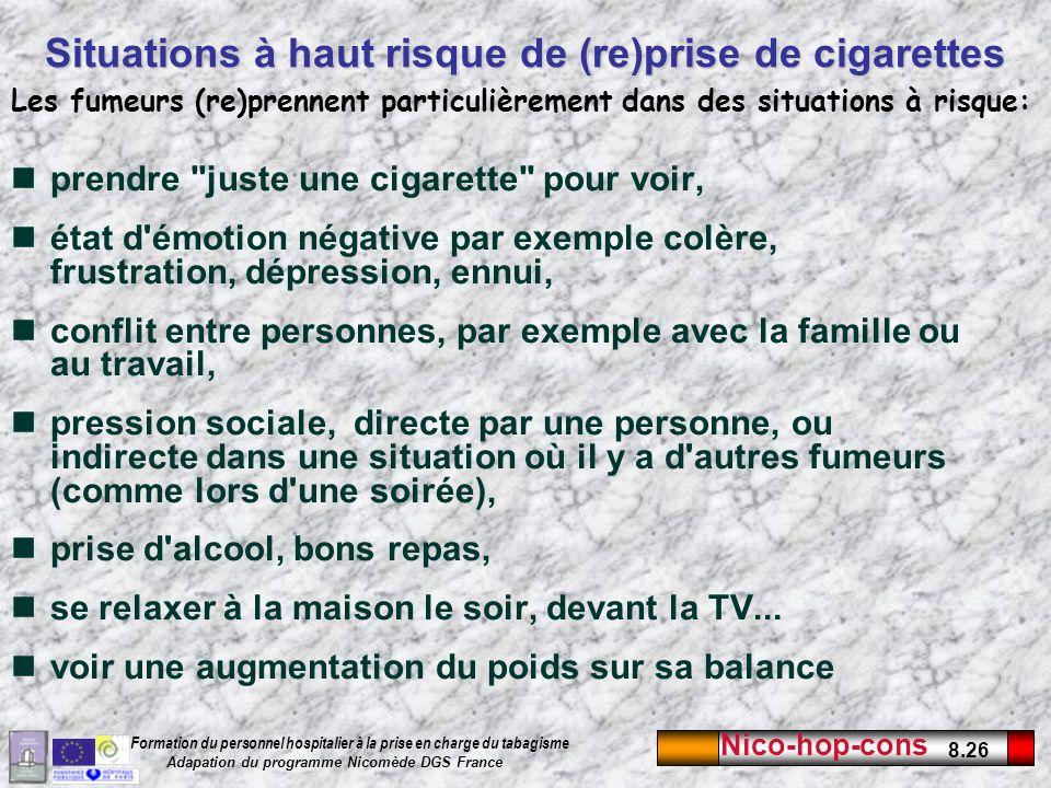 Situations à haut risque de (re)prise de cigarettes