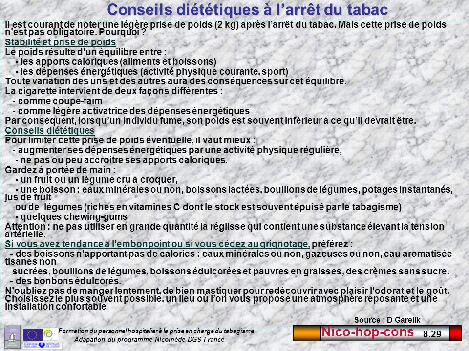 Conseils diététiques à l'arrêt du tabac