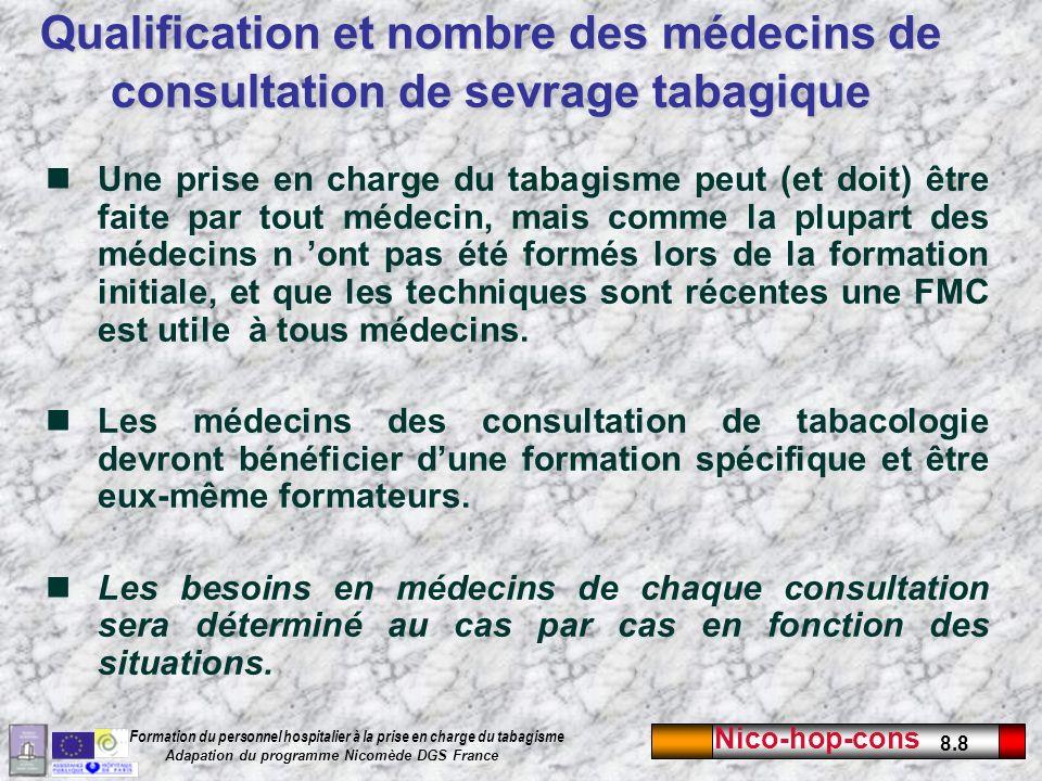 Qualification et nombre des médecins de consultation de sevrage tabagique