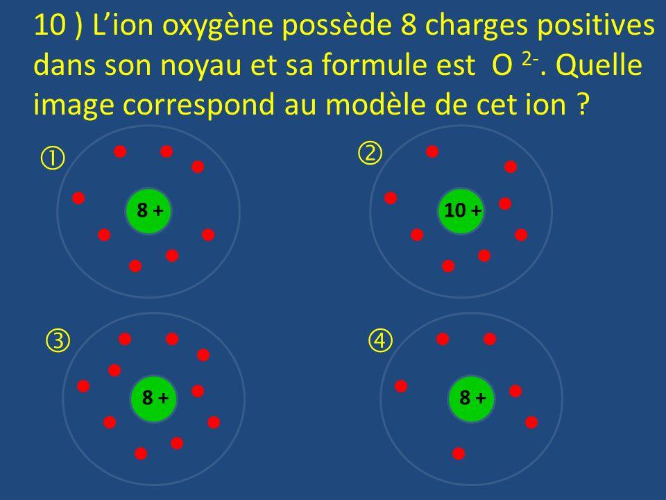 10 ) L'ion oxygène possède 8 charges positives dans son noyau et sa formule est O 2-. Quelle image correspond au modèle de cet ion