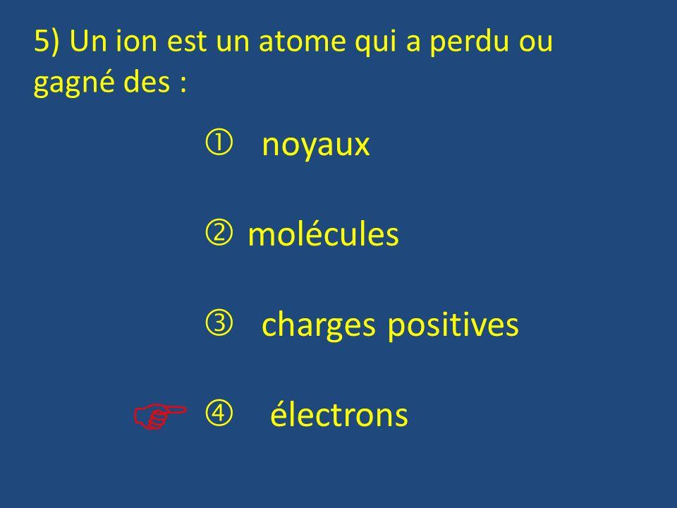   noyaux molécules  charges positives  électrons