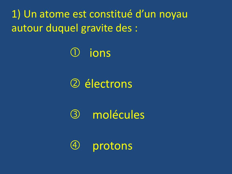  ions électrons  molécules  protons