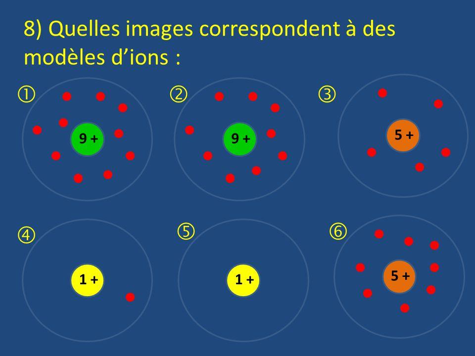 8) Quelles images correspondent à des modèles d'ions :