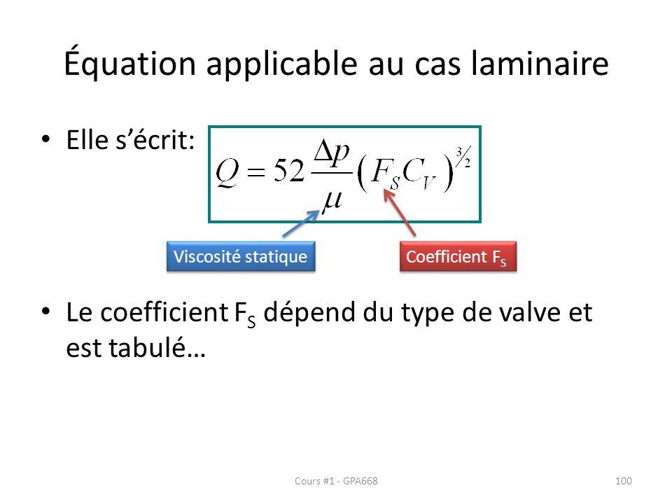 Équation applicable au cas laminaire