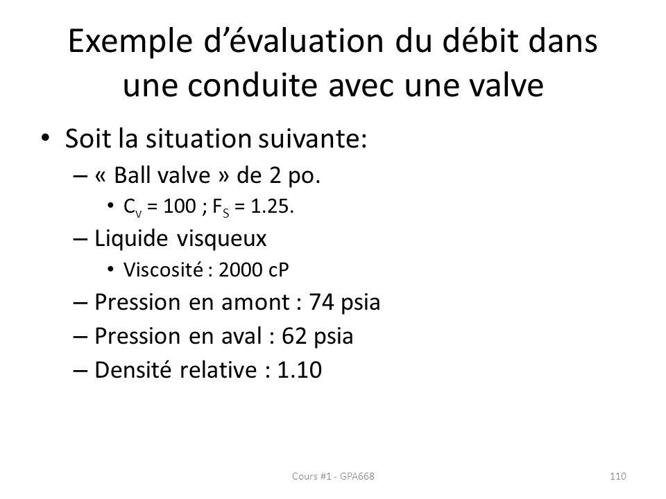 Exemple d'évaluation du débit dans une conduite avec une valve